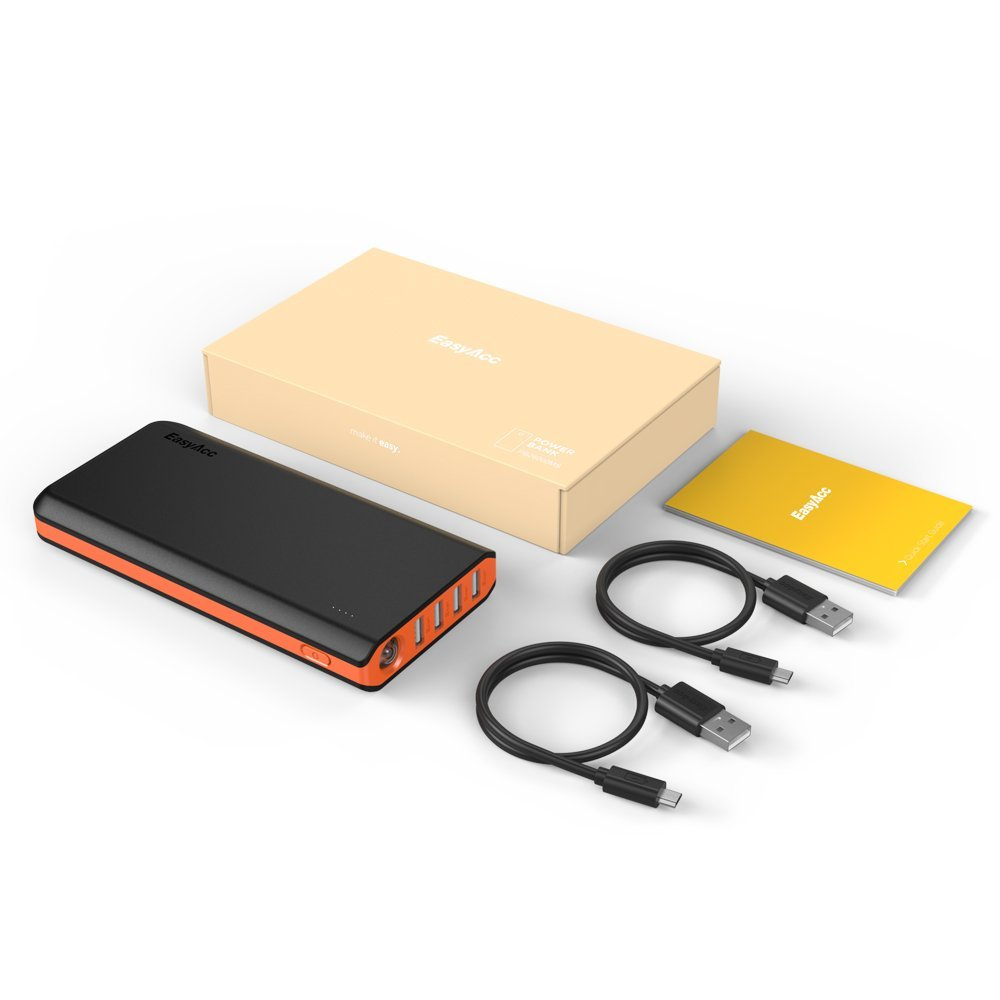 EasyAcc 26000mAh Power Bank High Capacity Portable Charger 4A Dual Input 4.8A 4 Output Fast Charge External Battery Charger for Mobile Phones Tablets Black and Orange