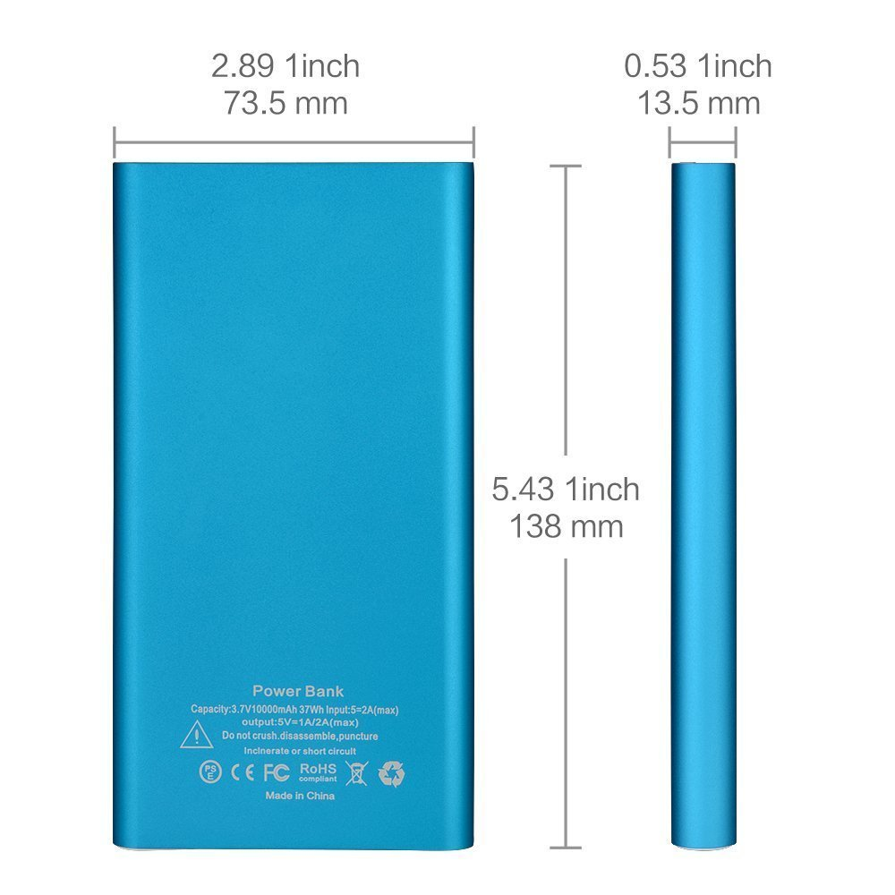 Onite 10000Mah External Battery Packs Power Bank for Samsung Galaxy Note 8,  S8, S8 Plus, S7 S6 S5 S4 S3, J7 J5, LG Tribute HD, Stylo 2 3, K7 K8,