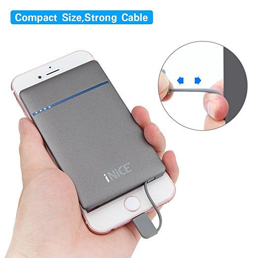 iNiCE 3000mAh Ultra Slim Mini Power Bank Charger External Battery Pocket  Size with Built in Lightning (MFi) and Micro USB Cable for iPhone 7f97b1365189