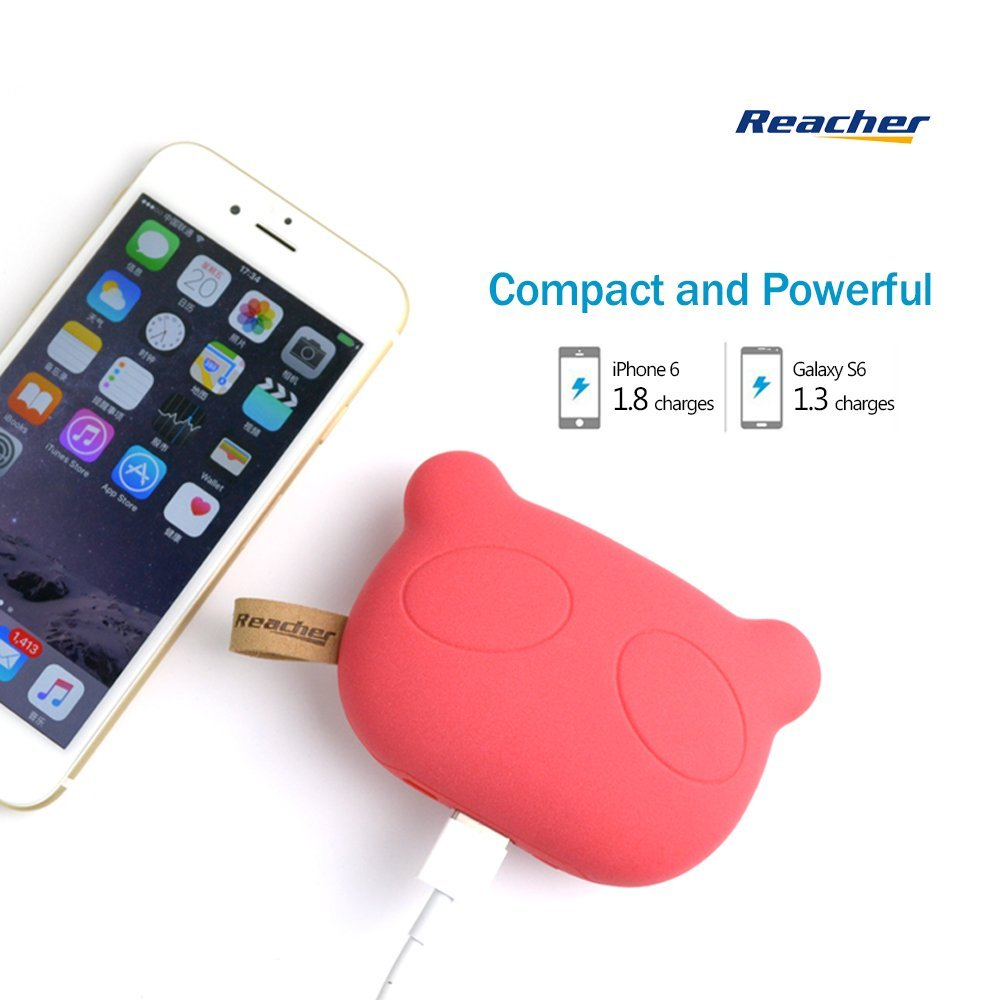 new style 06d08 7f2b7 Reacher Panda - S36 5200mAh Cute Pet Mini Portable Charger, External  Battery Power Bank Pack Backup (Red) - CHARGE WITH POWER