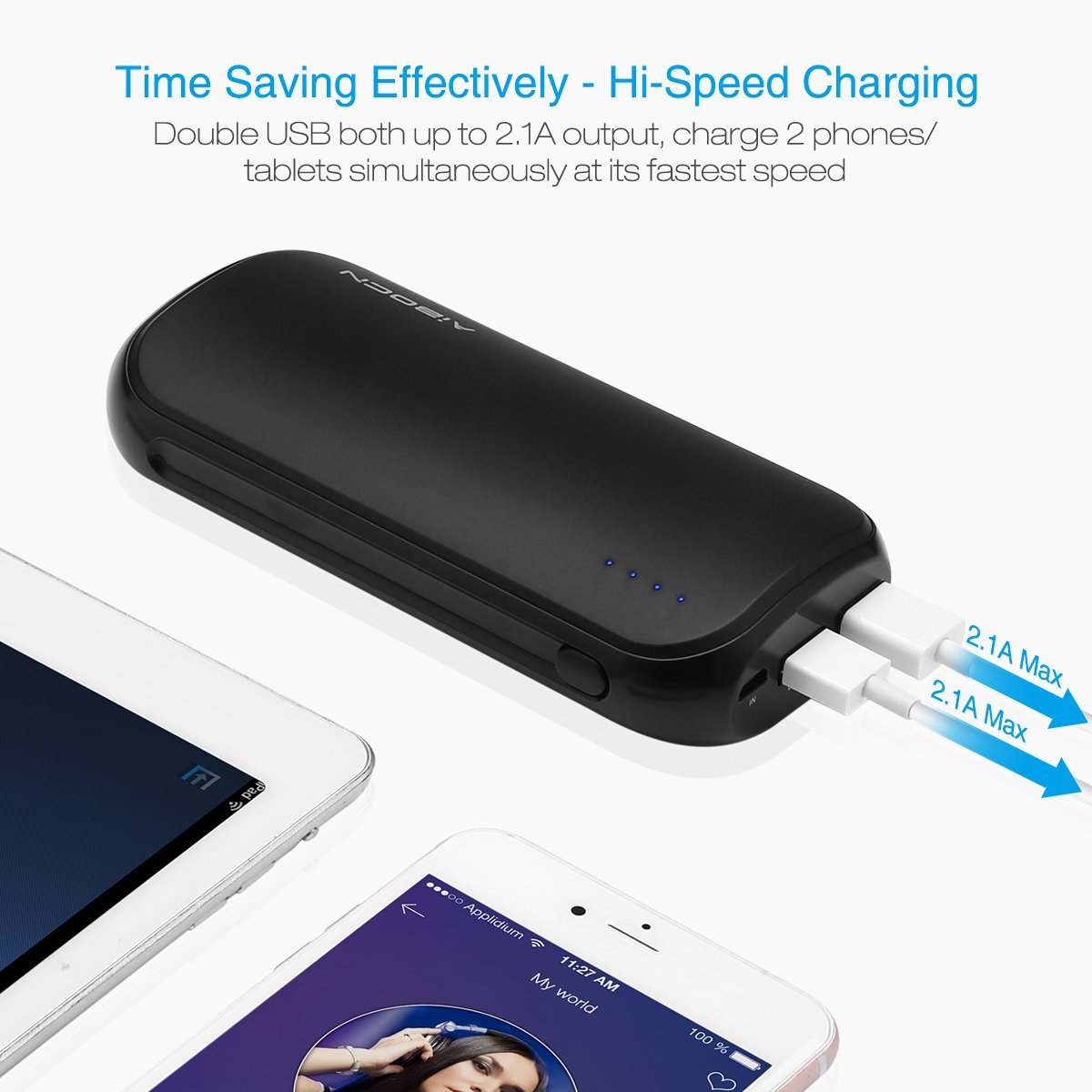 Aibocn Power Bank 16000mAh Portable External Charger with Fast Charging  Technology for iPhone Samsung Galaxy Tablets and More, Black - CHARGE WITH