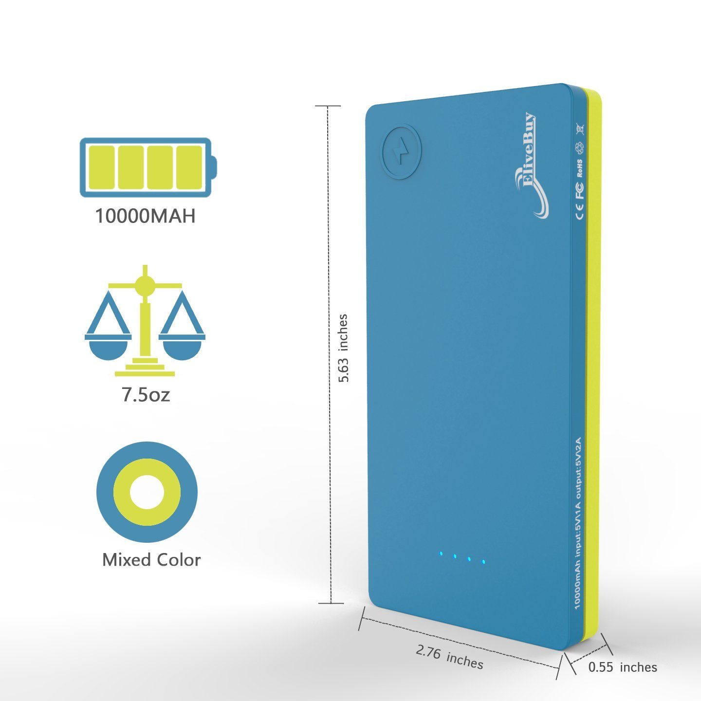 Elivebuy iMiX 2nd Gen 10000mAh Dual-Port Portable USB Power Bank - Blue /  Yellow - CHARGE WITH POWER