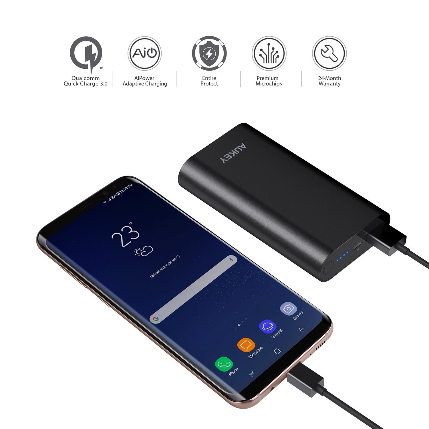 AUKEY 10050mAh Portable Charger with Qualcomm Quick Charge 3 0 for Samsung  Galaxy S8/S8+, LG G6, HTC 10 and More - Black - CHARGE WITH POWER