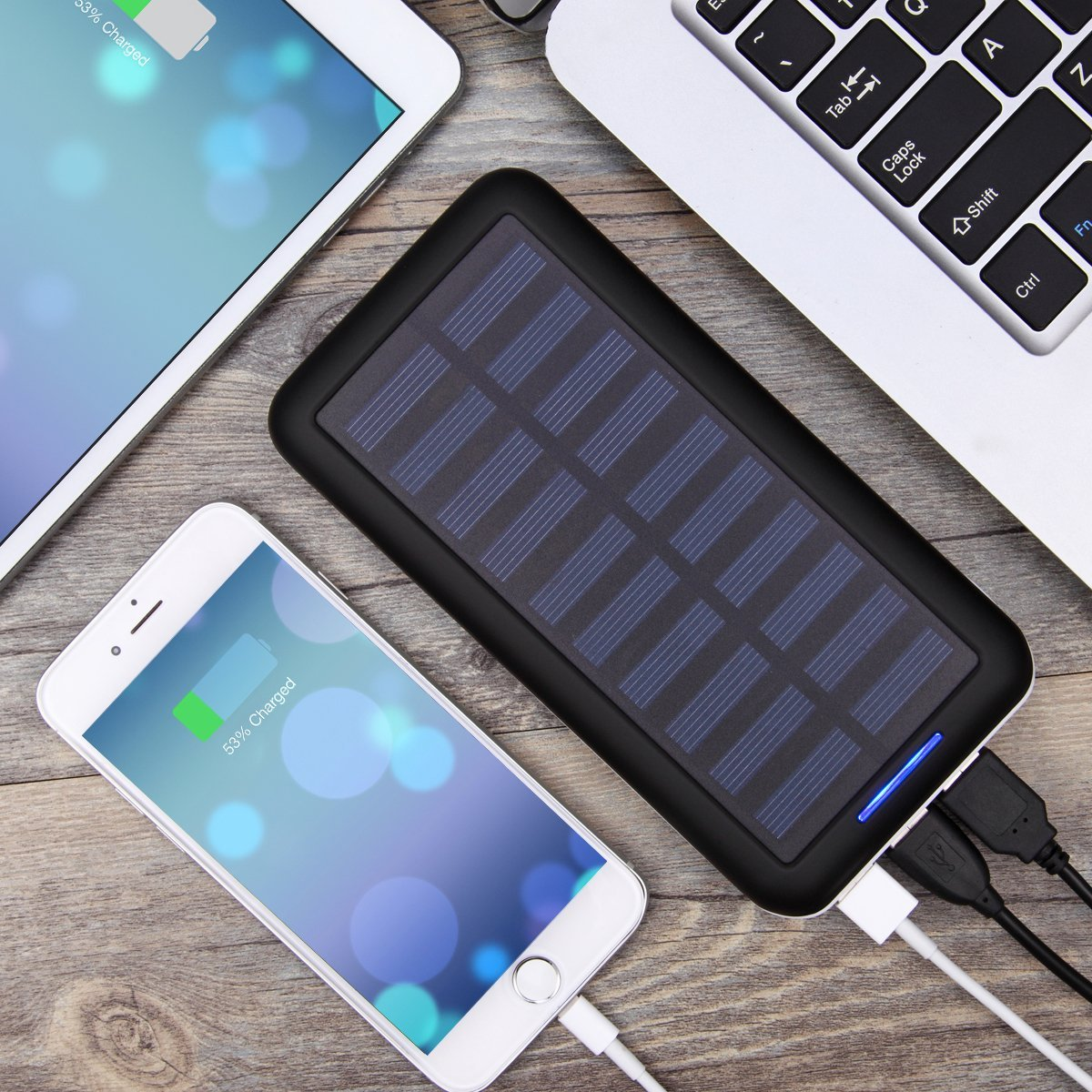 Portable Chargers Kedron 22000 Solar Charger 22000mah External Battery Pack 2 Port Input 3 Usb Output Power Banks Or Iphone Ipad And Samsung Galaxy